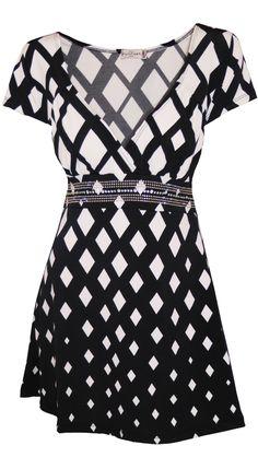 Funfash Plus Size Top Black White Diamond Empire Waist USA Blouse Shir