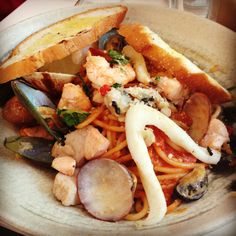Spicy seafood mix pasta