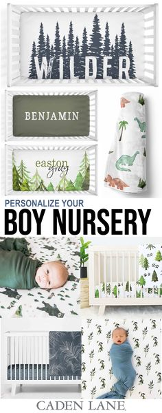 This is the cutest collection of baby boy nursery + baby items ever! Shop all of their personalized crib sheets, changing pad covers, baby blankets, swaddles, knot gowns, and so much more!
