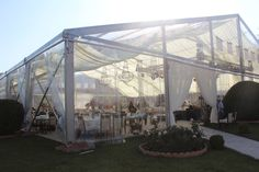 This clear span marquee is equipped with clear PVC fabric for roof and wall. It is 15*30m our best sell and sold to Georgia for wedding. The optional weddinf tent size is 10*15m,10*20m, and 15*30m span from 6-15m is available.