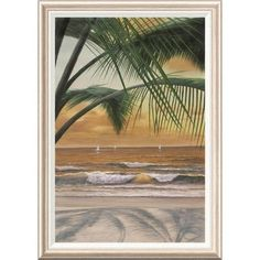 Global Gallery 'Paradiso Sunset' by Diane Romanello Framed Painting Print Size: