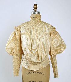 Silk and lace shirtwaist, American, ca. 1895.