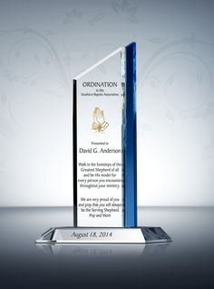 The Pinnacle Ordination Plaque is stunning in its simplicity as well as its potential for personalization. Choose a parish logo, a religious symbol or any other design theme you like to make this piece your own. Pinnacle Ordination Plaques are sure to honor, and impress.