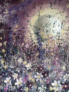 ARTFINDER: Midnight garden by Jane Morgan - This painting was inspired by all the sparkle and lovely purple tones of flowers lit by a full moon. The moon is watercolour with pearl acrylic so it really ...