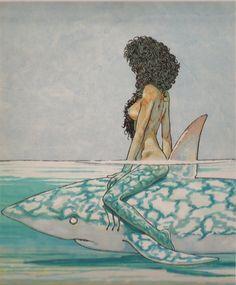 Betta sullo squalo by Andrea Pazienza