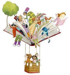Traveling with books / Viajando con los libros. Ilustración de Momo Carretero.