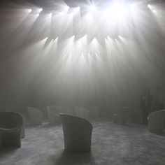 "Maison 2012 Designer of the Year, Tokujin Yoshioka's Moon Chair. ""Called Twilight, the installation comprised artificial smoke hanging in the air with beams of light streaming through."""
