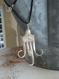 Fork Necklace From Upcycled (Up-cycled) Antique Silverplate Fork Silverware Jewelry (00187-LV). via Etsy.