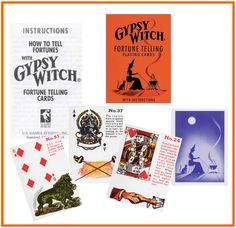 """The Gypsy Witch Fortune Telling Playing Cards is a strange little deck. It's been described elsewhere as """"deviant."""" """"Quirky"""" might be another accurate description. Fortune Cards, Fortune Telling Cards, Gypsy Witch, Cartomancy, King Of Hearts, Deck Of Cards, Card Deck, Little Gifts, Card Games"""