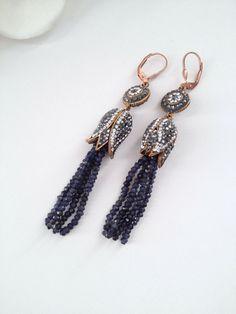 Tassel Earrings Iolite Stone Earrings Rose Gold by MootiDesigns