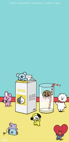 Image about cute in bts fanart by meli on we heart it K Wallpaper, Tumblr Wallpaper, Wallpaper Keren, Bts Taehyung, Bts Bangtan Boy, Bts Memes, Chibi Bts, Bts Drawings, Line Friends