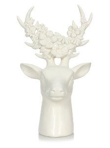 White Stags Stag Head Bust With Flowers ON Antlers Ornament Sculpture Stag Head, Living Room Red, Asda, Winter White, Antlers, Home Accessories, Sculpture, Statue, Ornaments