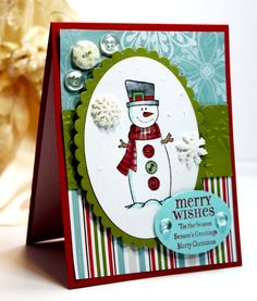 Christmas Card  Handmade Card - Greeting Card - Merry Wishes Tis the Season Season's Greetings Merry Christmas - Unity Stamps - OOAK. $3.75, via Etsy.