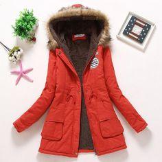 15f76d64dd5 2017 winter jacket women wadded jacket female outerwear slim winter hooded  coat long cotton padded fur