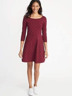 old navy printed sleeve fit & flare dress Flare Skirt, Fit Flare Dress, Fit And Flare, Women's Fashion Dresses, Dress Outfits, Navy Outfits, Hot Dress, Dress Up, Cute Mixed Girls