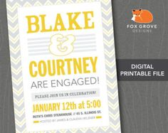 "Printable Engagement Party Invitation ""Typographic"" / Customized Digital File (5x7) / Printing Services Available"