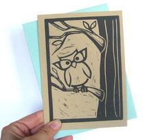 A cute and simple lino cut card from etsy