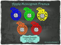 Apple Monogram Frames in .SVG .EPS .DXF & .Studio3 formats Craft Cut Die Cutters Digital Vector Files Instant Download by TheSVGFontStore on Etsy