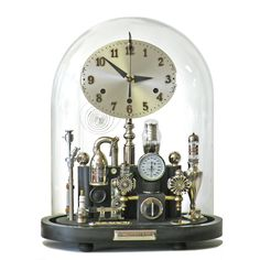 Steampunk clock in large oval dome