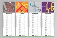 #calendar #typografy #2014 #palatino #1948 #gotham #timesnewroman #1932 #helvetica #1722 #1957 #futura #1928 #tradegothic #font - Calendar Skriba 2014 - Typography - Copyright Studio Skriba - www.skriba.it