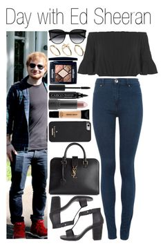 """""""• Day with Ed Sheeran"""" by dianasf ❤ liked on Polyvore featuring Miss Selfridge, Yves Saint Laurent, DesignSix, Dr. Denim, CÉLINE, Bite, Christian Dior, CARGO, Giorgio Armani and Kate Spade"""