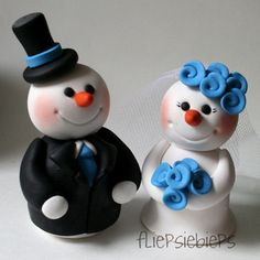 Winter wedding snowman cake topper bride and groom by PerlillaPets ...