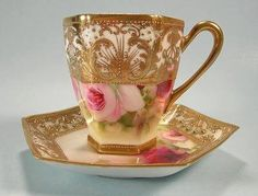Nippon Chocolate Cup and Saucer Jewels Hand Painted Roses,pink & gold Tea Cup Set, My Cup Of Tea, Cup And Saucer Set, Tea Cup Saucer, Tea Sets, China Cups And Saucers, China Tea Cups, Teapots And Cups, Chocolate Cups