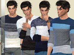 A set of four wool sweaters with horizontal big stripes on different patterns. Found in TSR Category 'Sims 4 Male Everyday'