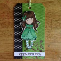 birthday tag using a Gorjuss Girl stamp and coloured with Prismacolour markers