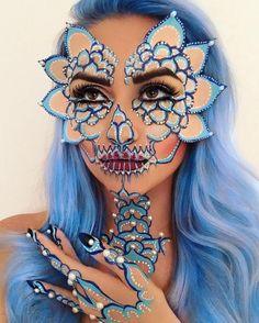 Badass Skull Face Painting Art By Vanessa Davis. CutPasteStudio  Illustrations, Entertainment, beautiful,creativity, Art, Artwork,Artist, face painting, fashion, makeup art.