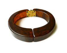 Brown Bakelite, Bangle Bracelet, Hinged Clamper Bracelet, Tortoise Bakelite, Vintage Jewelry by zephyrvintage on Etsy