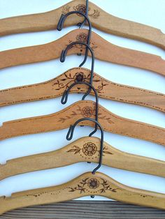 Wood Burned Wooden Hanger Folk Art Style by TheSingingBird on Etsy, $25.00