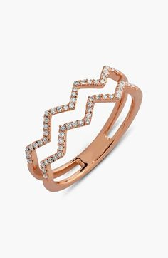Women's Bony Levy 'Prism' 2-Row Diamond Ring - Rose Gold (Limited Edition) (Nordstrom Exclusive)