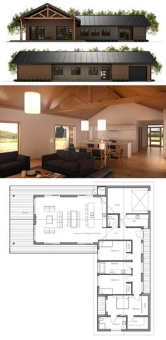 Home Plans, House Plans, Architecture, Floor Plans Modern Farmhouse Plans, Modern House Plans, Small House Plans, Country Farmhouse, Dream House Plans, House Floor Plans, House Blueprints, Architecture Plan, House Layouts