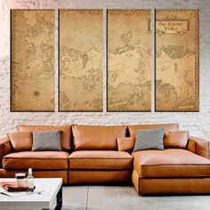 Game of Thrones Ancient Map 4 Panel Canvas, Vintage Map, Map On Canvas, Multi Panel Canvas, Home Decoration