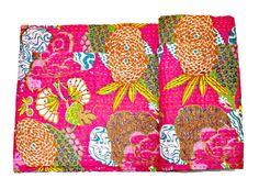 Christmas Gift Kantha Quilt, Pink Kantha Quilt, kantha throw Kantha Blanket, Kantha Bedspread, Twin Bedding, Twin Quilt, Indian Kantha Quilt