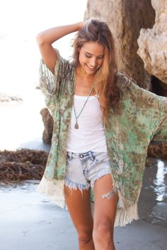 Fringed Flower Kimono in emerald waters. Cute denim cut offs & Tibetan beads. Hippie chic