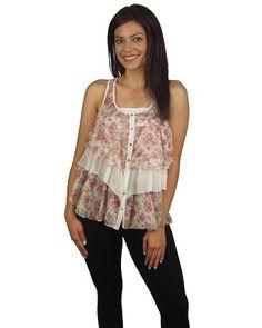 Sleeveless floral print layered top-id.24160