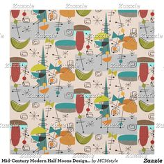 Shop Mid-Century Modern Half Moons Design Fabric 9 created by MCMstyle. Mid Century Modern Fabric, Mid Century Modern Bedroom, Mid Century Decor, Mid Century Modern Design, Midcentury Artwork, Modern Stools, Retro Fabric, Retro Pattern, Pattern Ideas