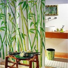 1.8x1.8M Bamboo Pattern Dacron Waterproof Shower Curtain With Hooks Bathroom Decor Supplies