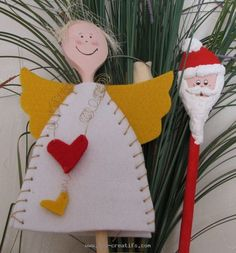 Quirky little Christmas characters, an angel and Father Christmas, made from wooden spoons, felt and a little paint. Plastic Spoon Crafts, Wooden Spoon Crafts, Wooden Spoons, Childrens Christmas, Christmas Crafts For Kids, Holiday Crafts, Christmas Makes, Noel Christmas, Christmas Ornaments