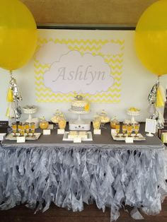 Yellow and Grey Elephant themed 1st birthday party via Kara's Party Ideas KarasPartyIdeas.com The Place for All Things Party! #elephantparty #yellowandgrey #yellowandgreychevron #firstbirthday #genderneutral #chevronparty (7)