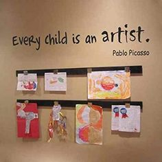 Every Child Is An Artist PABLO PICASSO Wall Decal Quote Preschool Kids Room Art Display StickerBlackxs -- You can find out more details at the link of the image. Infant Classroom, Preschool Classroom, Classroom Decor, Classroom Setting, Kindergarten, Artists For Kids, Art For Kids, Preschool Art Display, Reggio Emilia Classroom