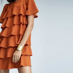 Tan Ruffle Layered Dress | Buy Layered Ruffled Dresses Online