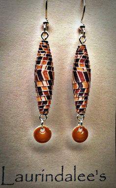 Brown  Tan Handcrafted Paper Bead Earrings
