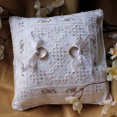 Hardanger Embroidery Wedding Ring Bearer Pillow with beads and