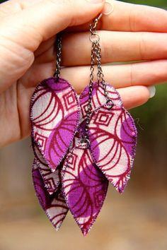 Purple dangle earrings African fabric by RenaisyDaisyDesigns