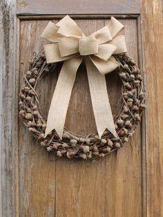 Acorn Wreath, Fall Wreath, Autumn Wreath, Rustic Wreath, Natural Wreath, Front Door Wreath, Acorn Decor, Natural Decor, Woodland Decor by HeartOfHomeDesign on Etsy https://www.etsy.com/listing/254181059/acorn-wreath-fall-wreath-autumn-wreath