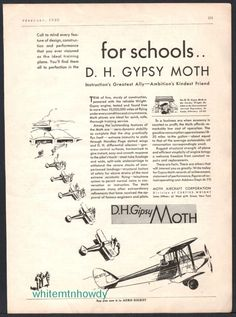 1930 D.H. Gipsy Moth Biplane Aircraft AD Antique Plane Flying Aviation