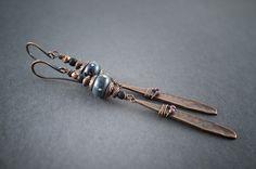 Boho tribal earrings • Artisan Lampwork glass bead • copper long drop • ethnic chic • rustic • elongated earrings • black • fine silver dots by entre2et7 on Etsy